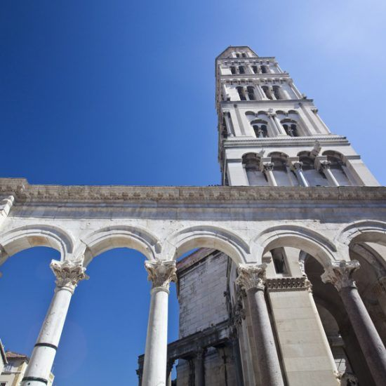 diocletian palace ruins and cathedral bell tower