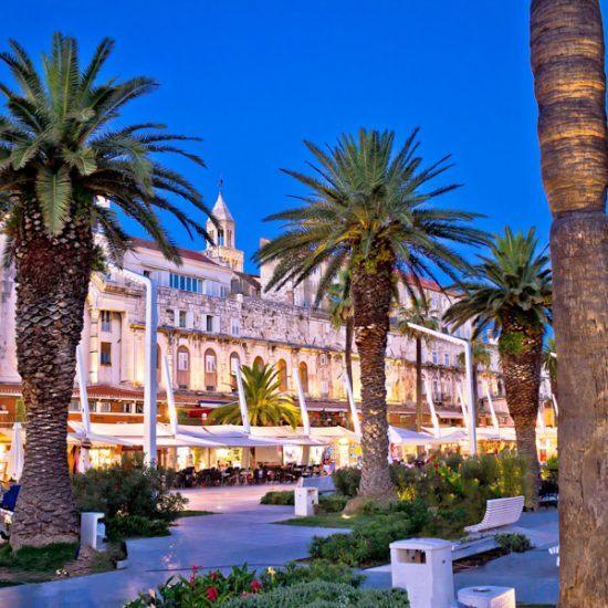 split riva waterfront palm walkway evening view