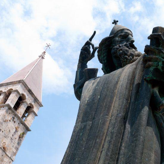 Church and statue of Grgur Ninski in Split, Croatia